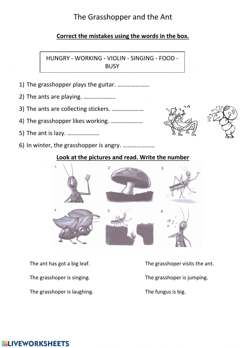 hight resolution of The grasshopper and the ant worksheet
