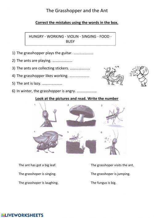 small resolution of The grasshopper and the ant worksheet