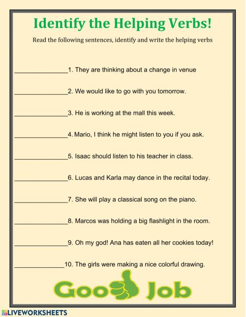 small resolution of Fin the Helping Verbs worksheet