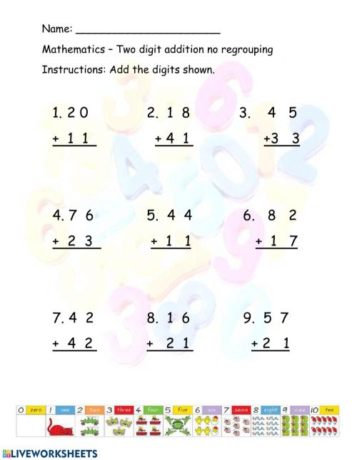 small resolution of Two Digit Addition with no regrouping worksheet