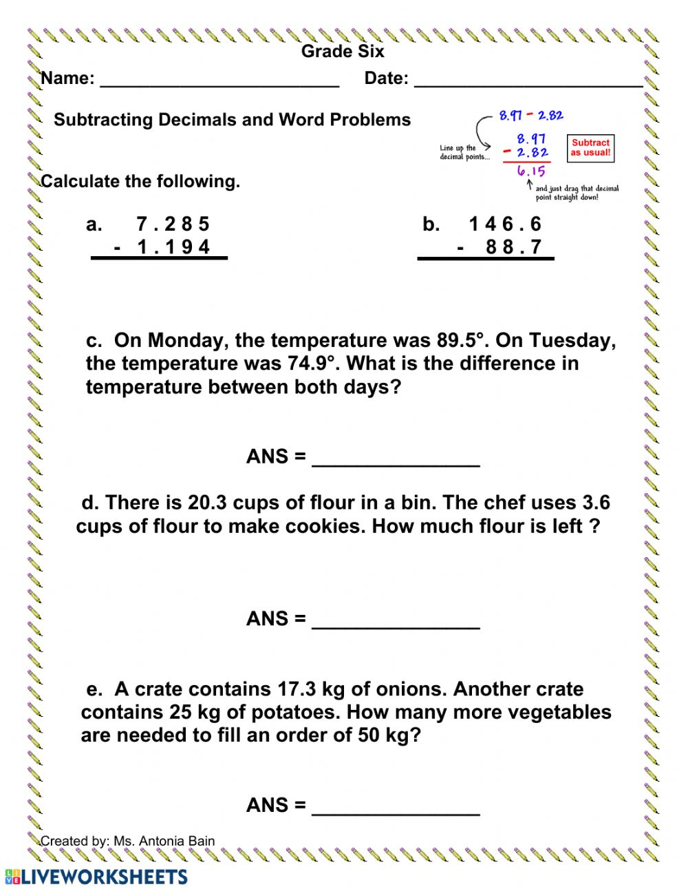 medium resolution of Subtracting Decimals Word Problems worksheet