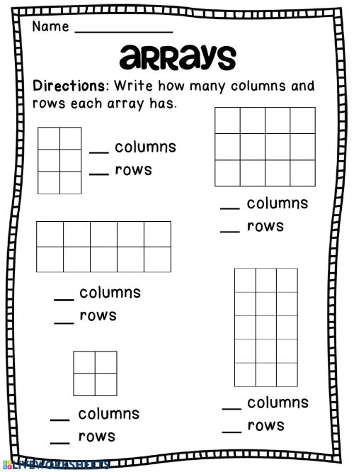 small resolution of Arrays worksheet