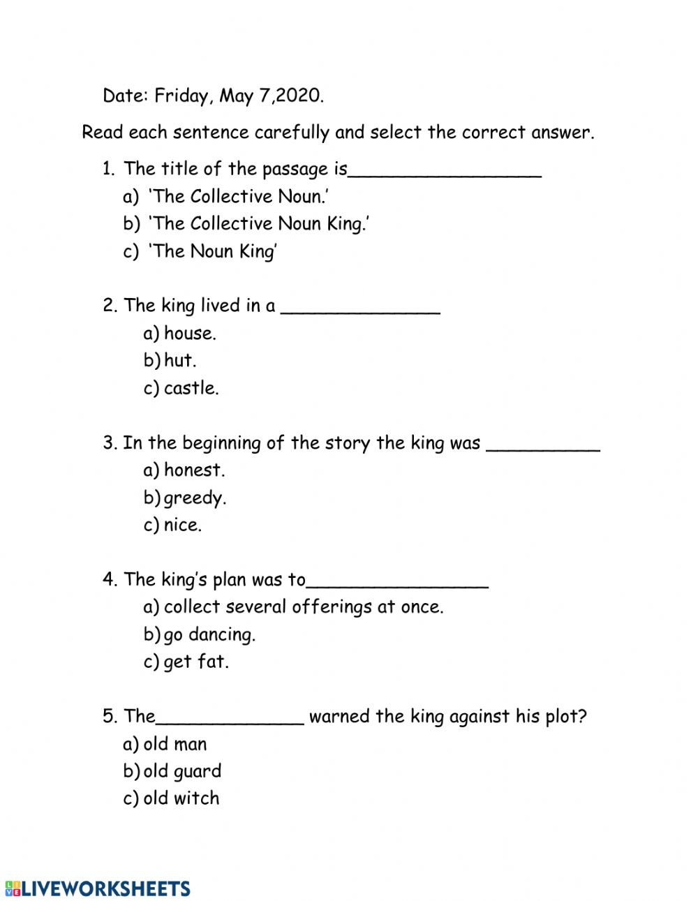 hight resolution of The Collective Noun King worksheet