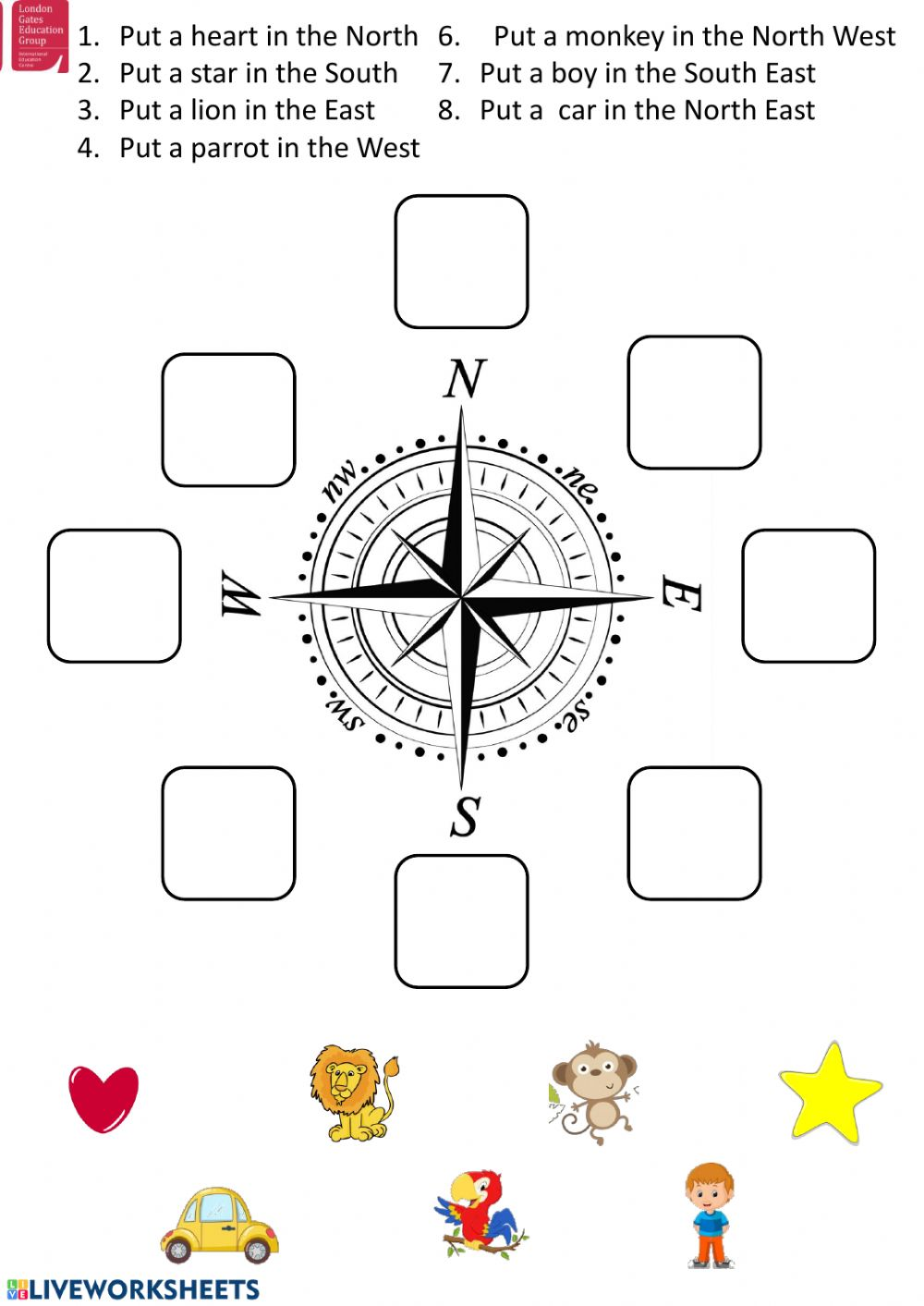 hight resolution of Cardinal directions interactive worksheet