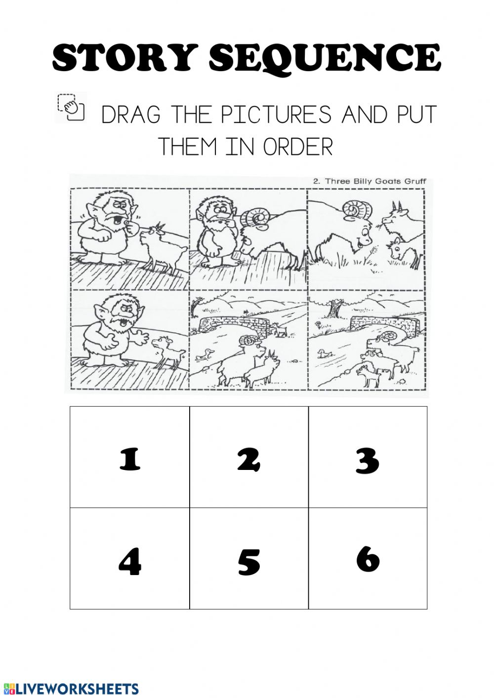 medium resolution of Story sequencing three billy goats gruff worksheet