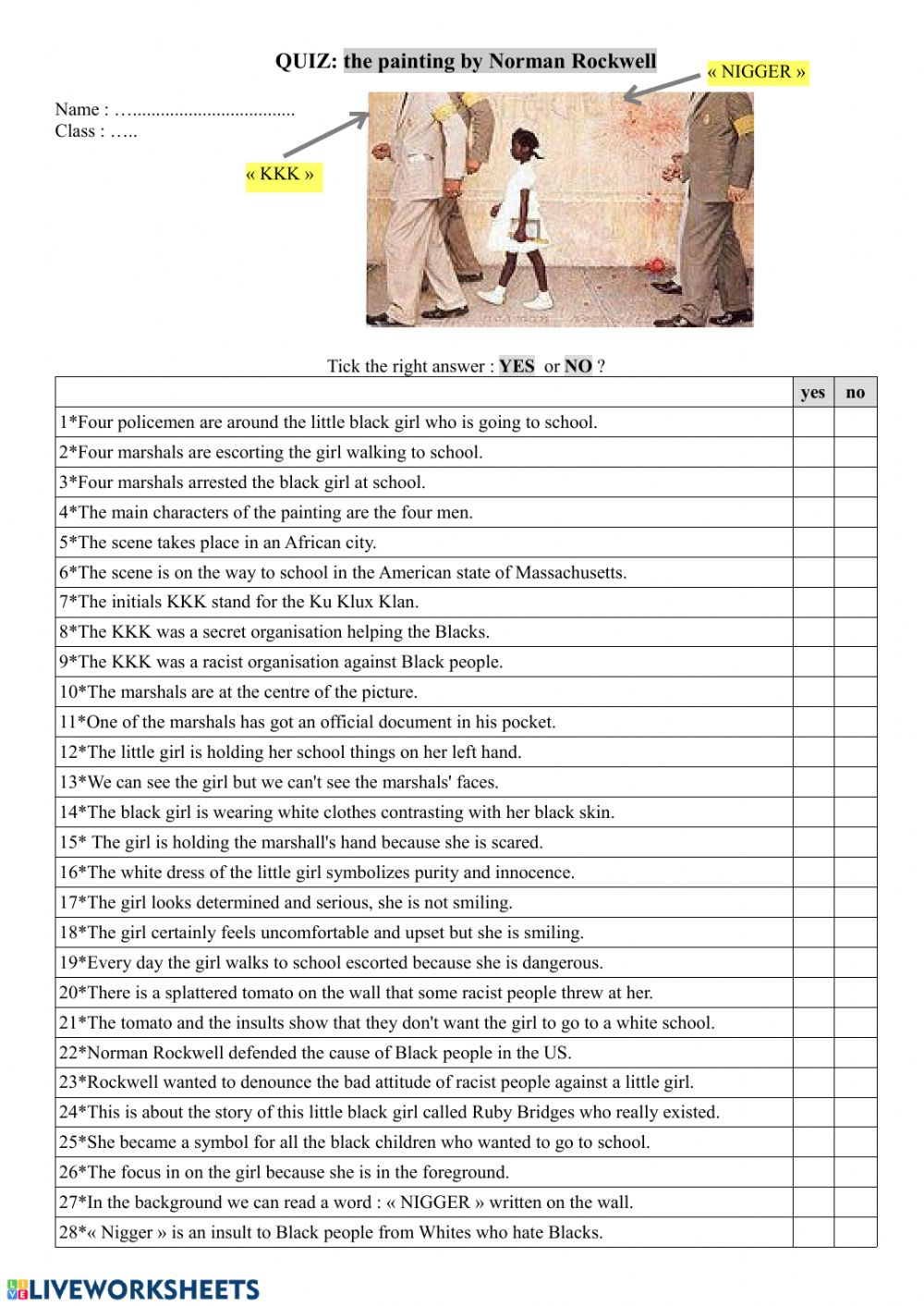 hight resolution of Norman Rockwell's painting : Ruby Bridges worksheet