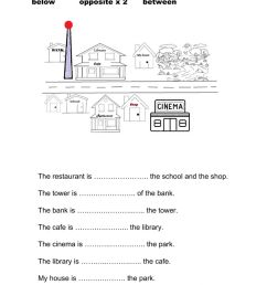 Prepositions of place - giving directions worksheet [ 1413 x 1000 Pixel ]
