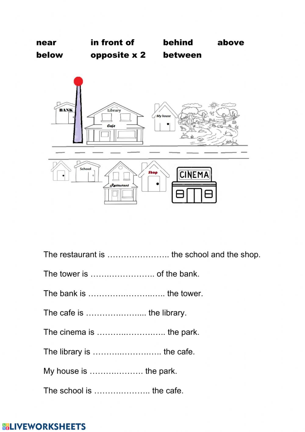medium resolution of Prepositions of place - giving directions worksheet