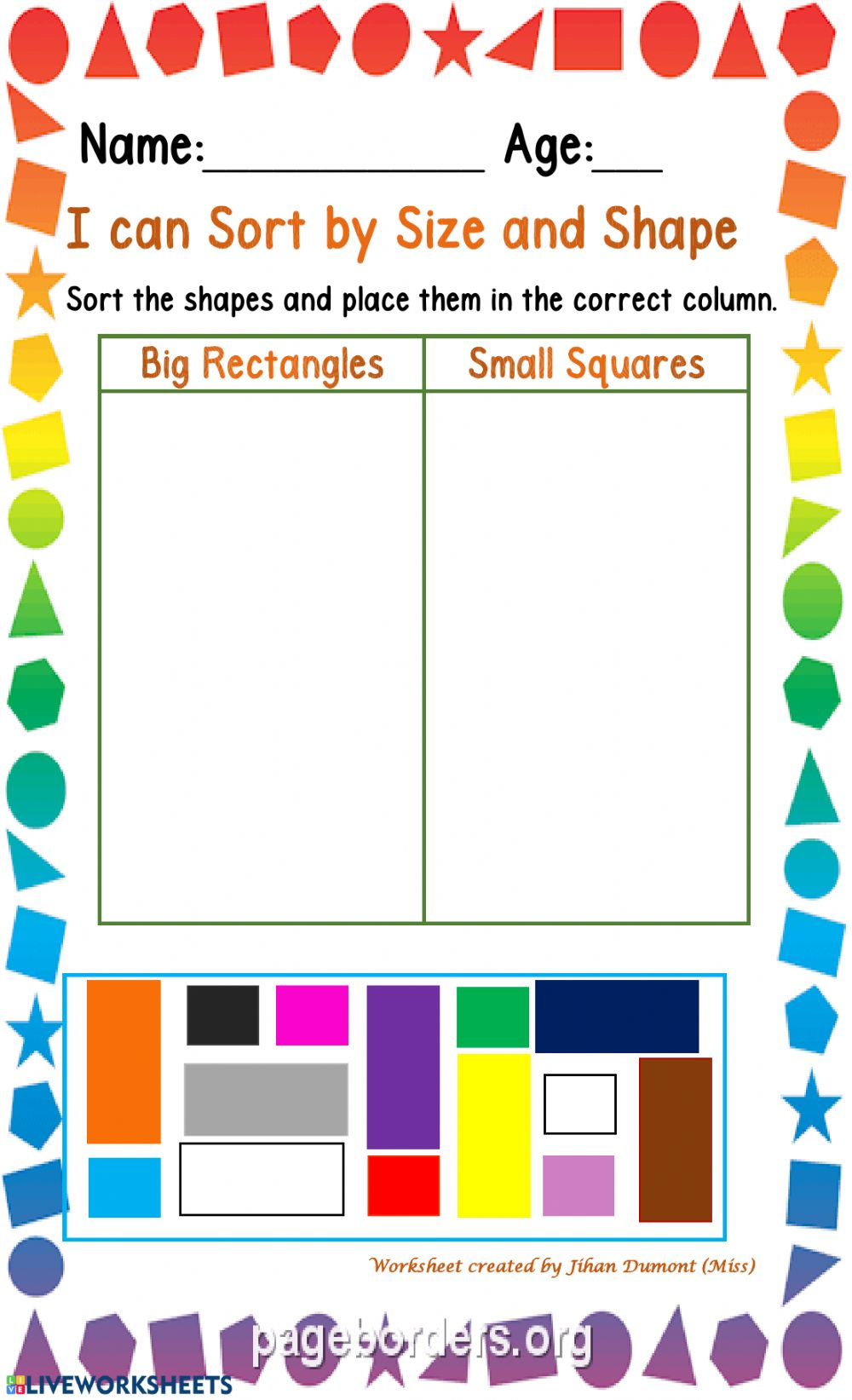 medium resolution of Classification of size and shape worksheet
