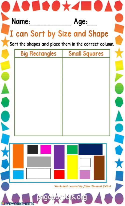 small resolution of Classification of size and shape worksheet