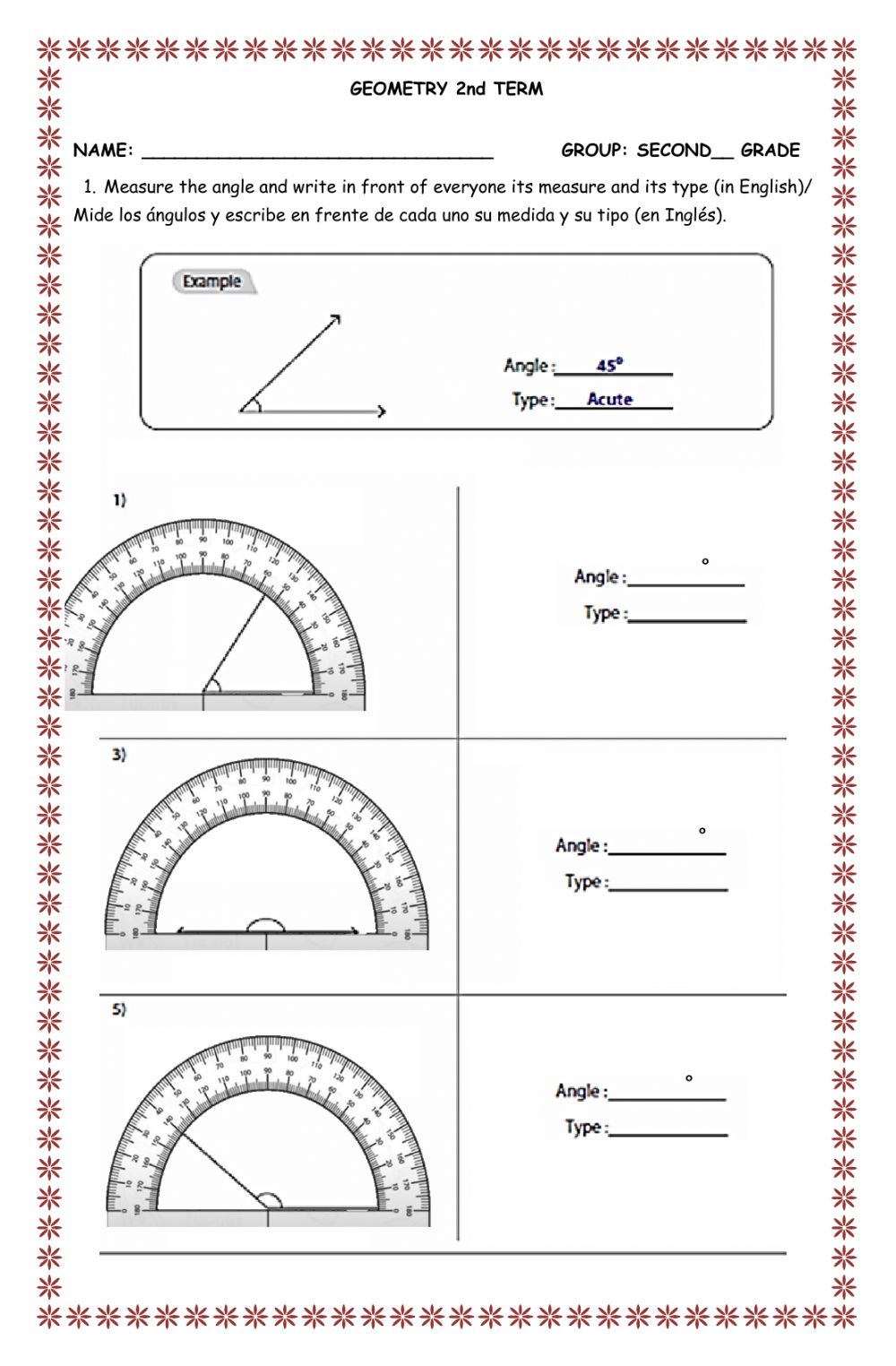 hight resolution of Evaluation second term second grade Geometry worksheet