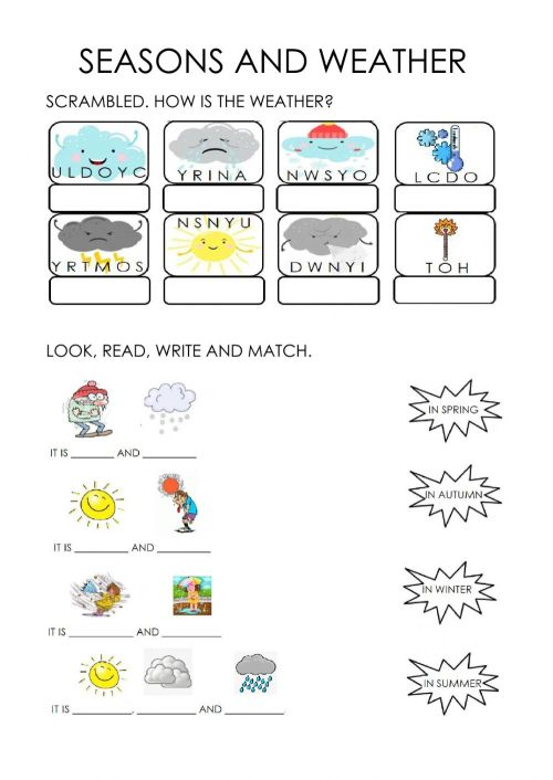 small resolution of Weather and seasons activity for FIRST GRADE