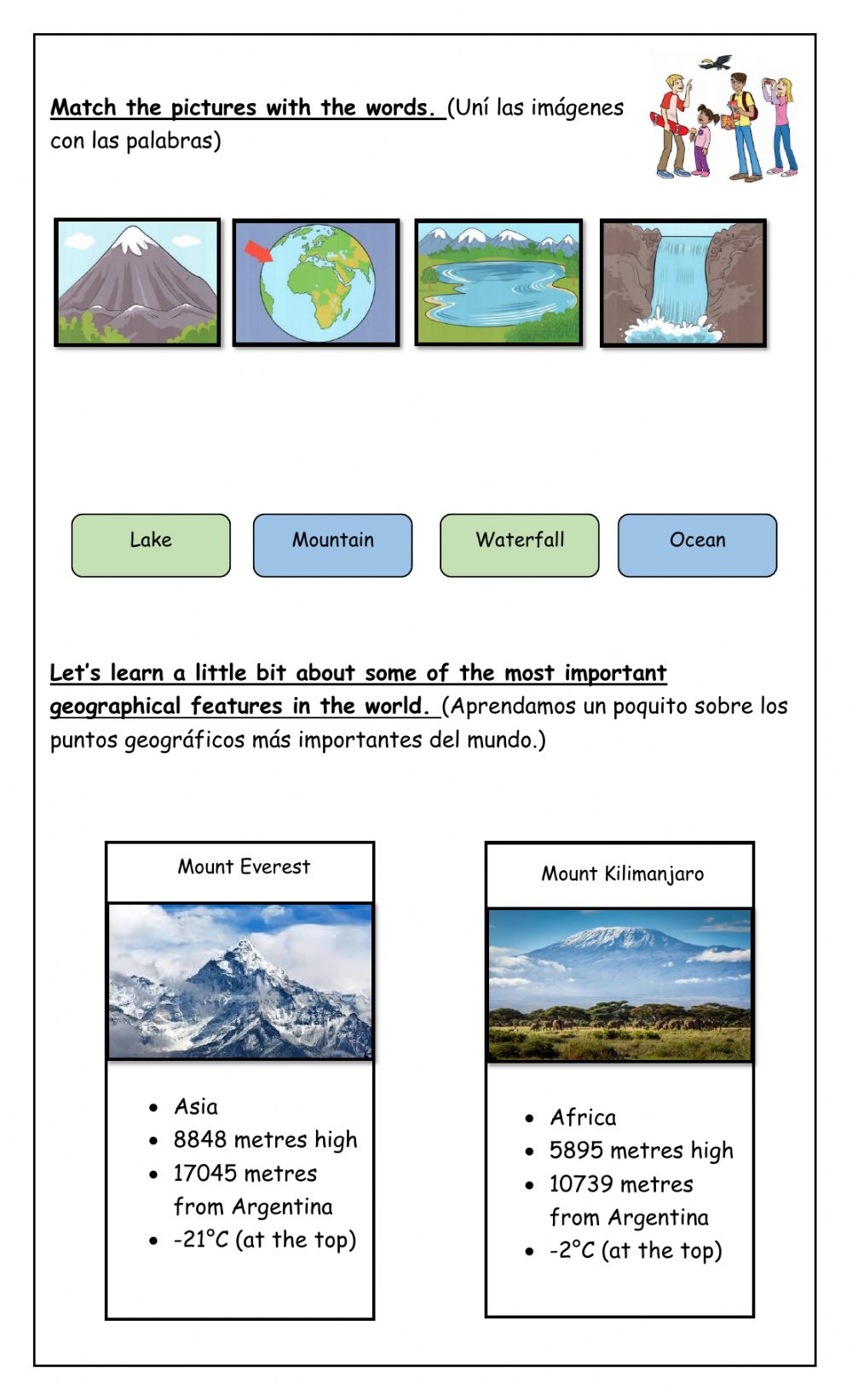 medium resolution of Geographical Features - EXTRA 4th Form worksheet