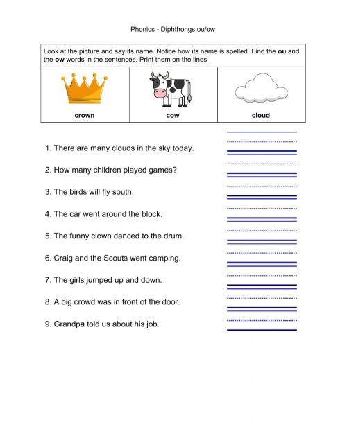 small resolution of Phonics - Diphthongs ou-ow worksheet