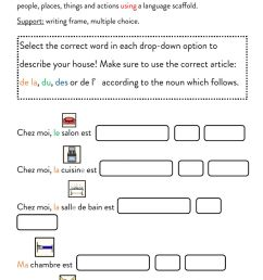 Describing my house with French prepositions worksheet [ 1413 x 1000 Pixel ]