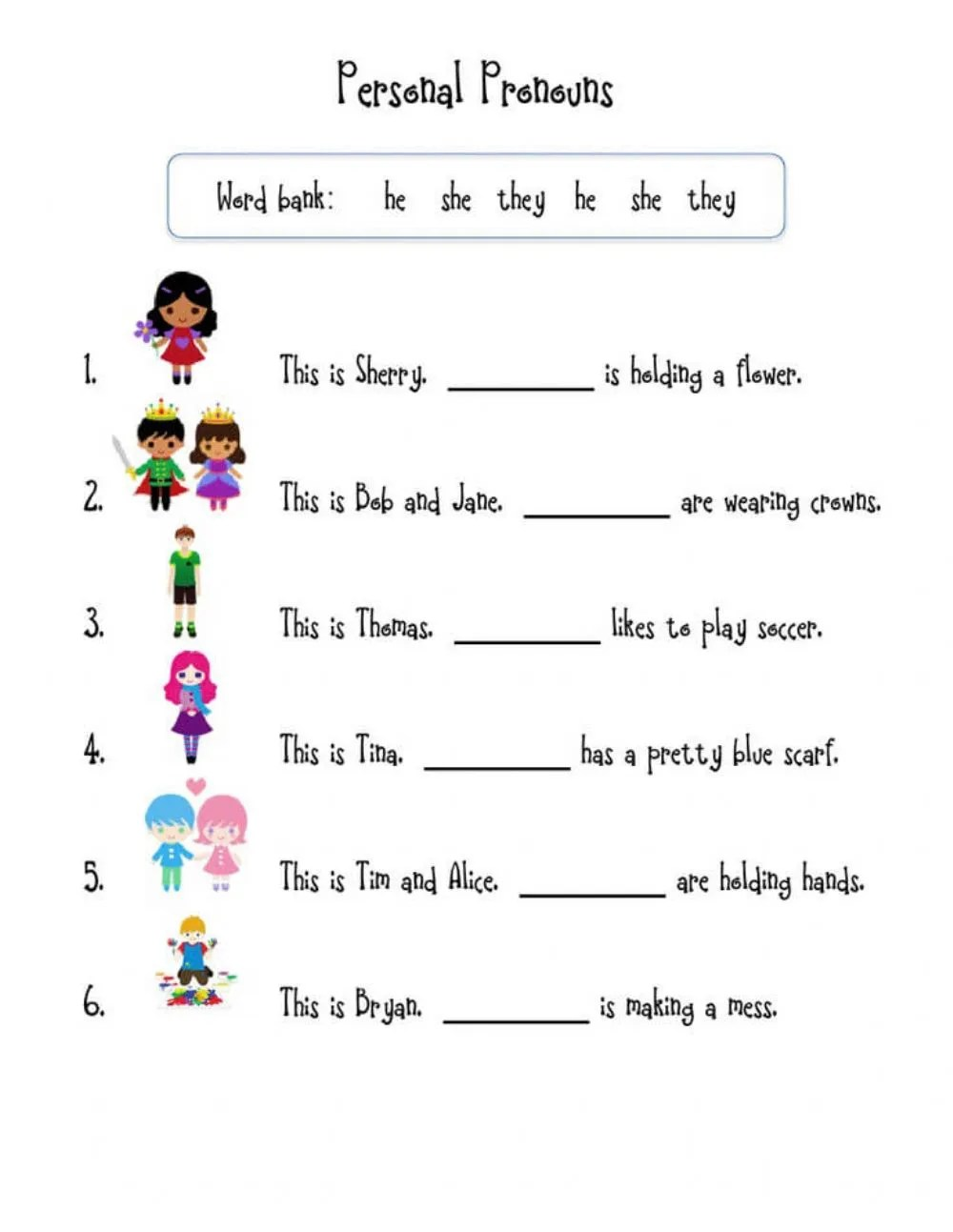 medium resolution of Pronouns online activity for first Grade
