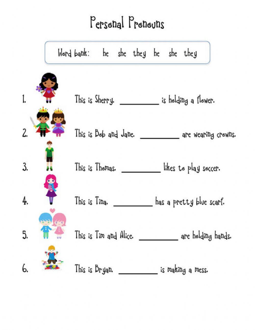 hight resolution of Pronouns online activity for first Grade