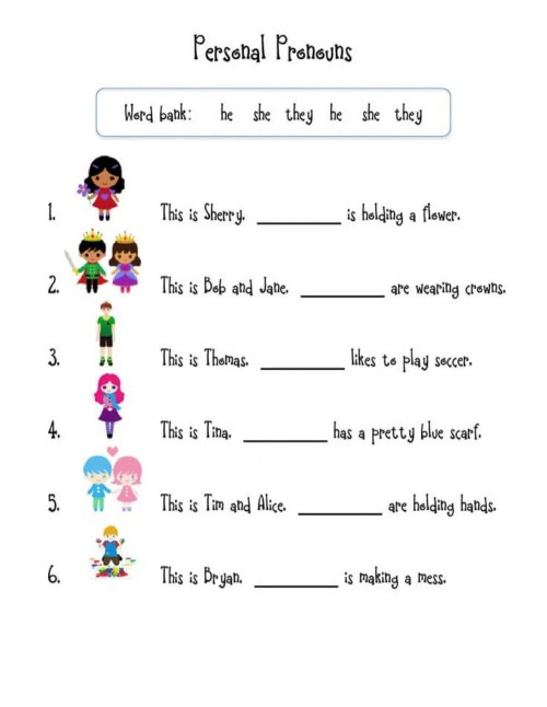 small resolution of Pronouns online activity for first Grade