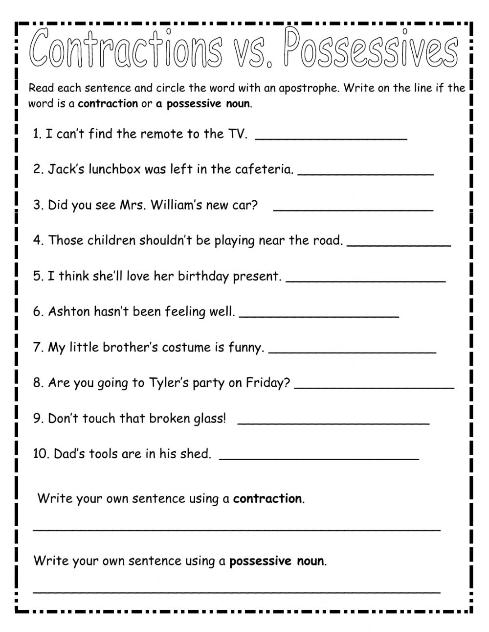 hight resolution of Contraction or Possessive Case? worksheet