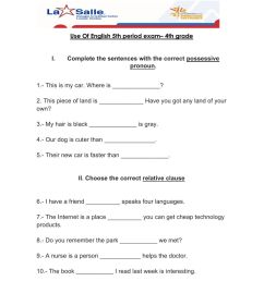 Use of english exam 4th grade 5 period worksheet [ 1291 x 1000 Pixel ]
