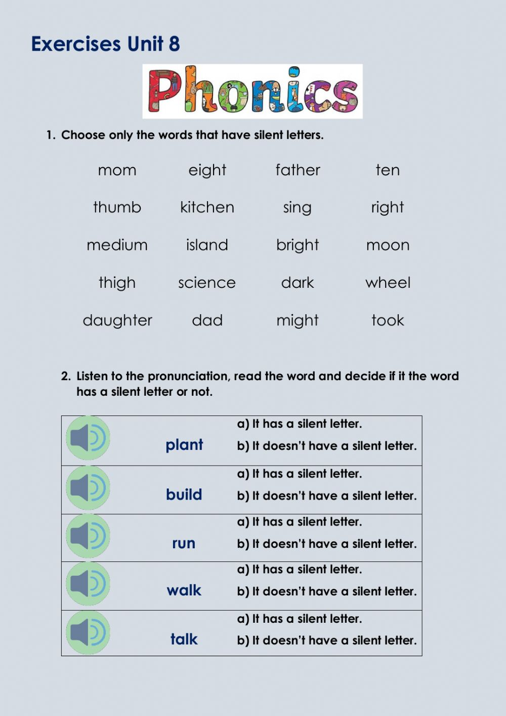 hight resolution of Phonics activity for 4th grade