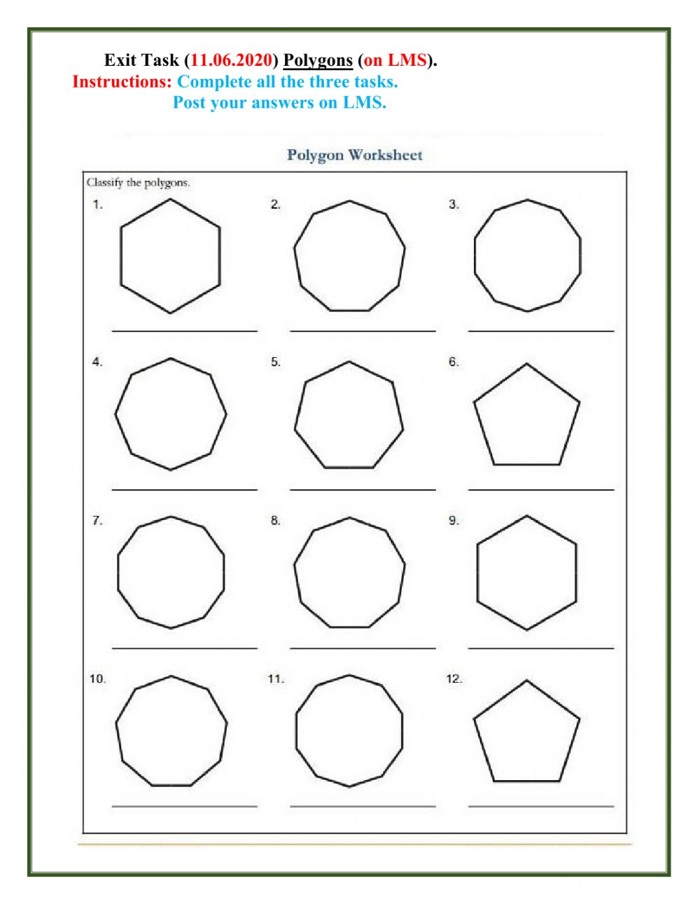 hight resolution of Polygon interactive worksheet