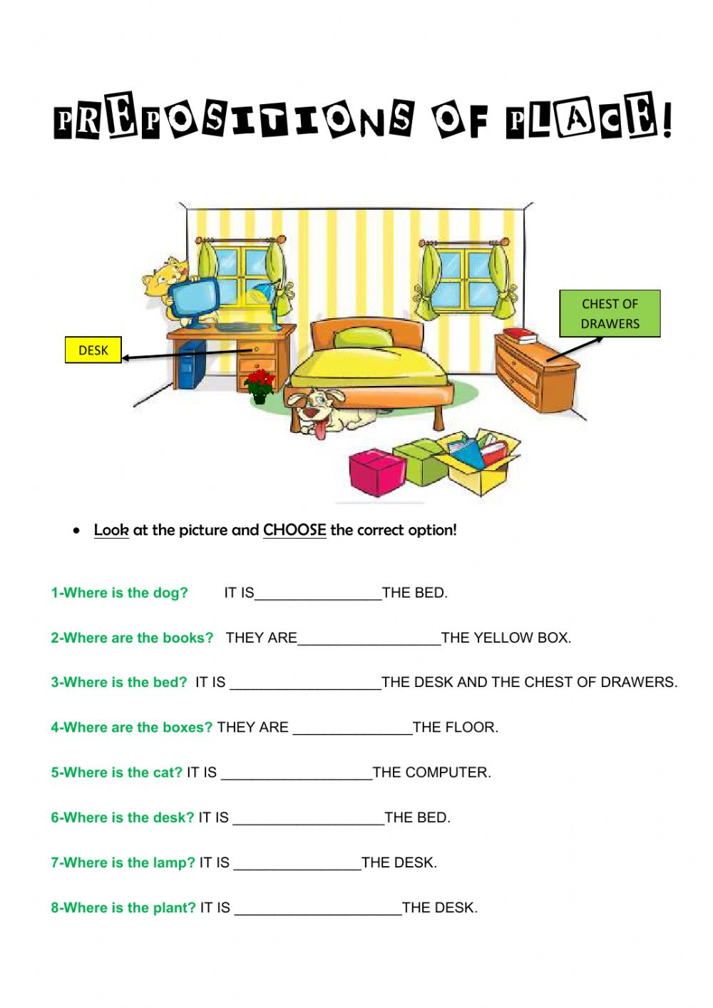hight resolution of Prepositions of place online exercise for 3rd