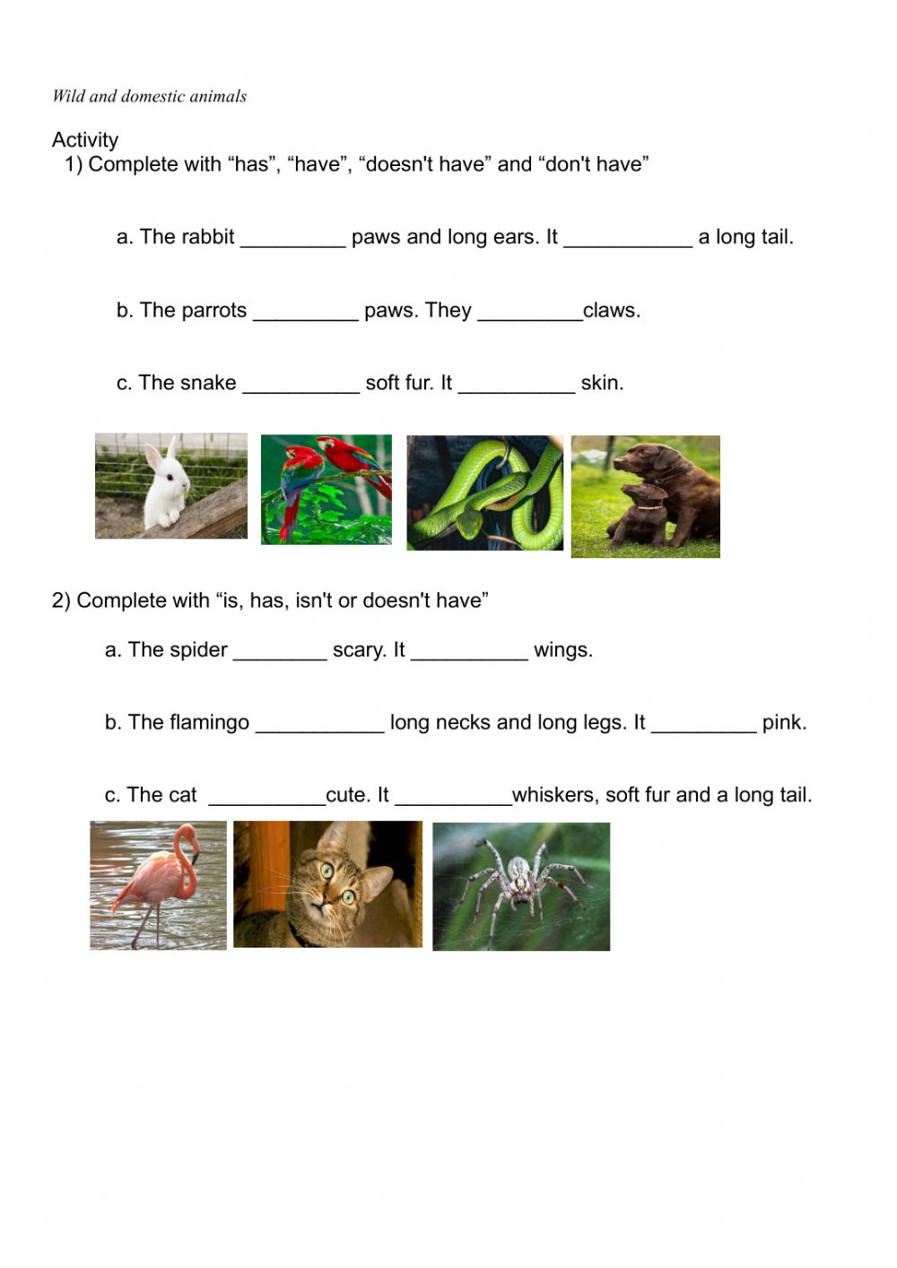 hight resolution of Animal body parts online pdf worksheet for grade 3
