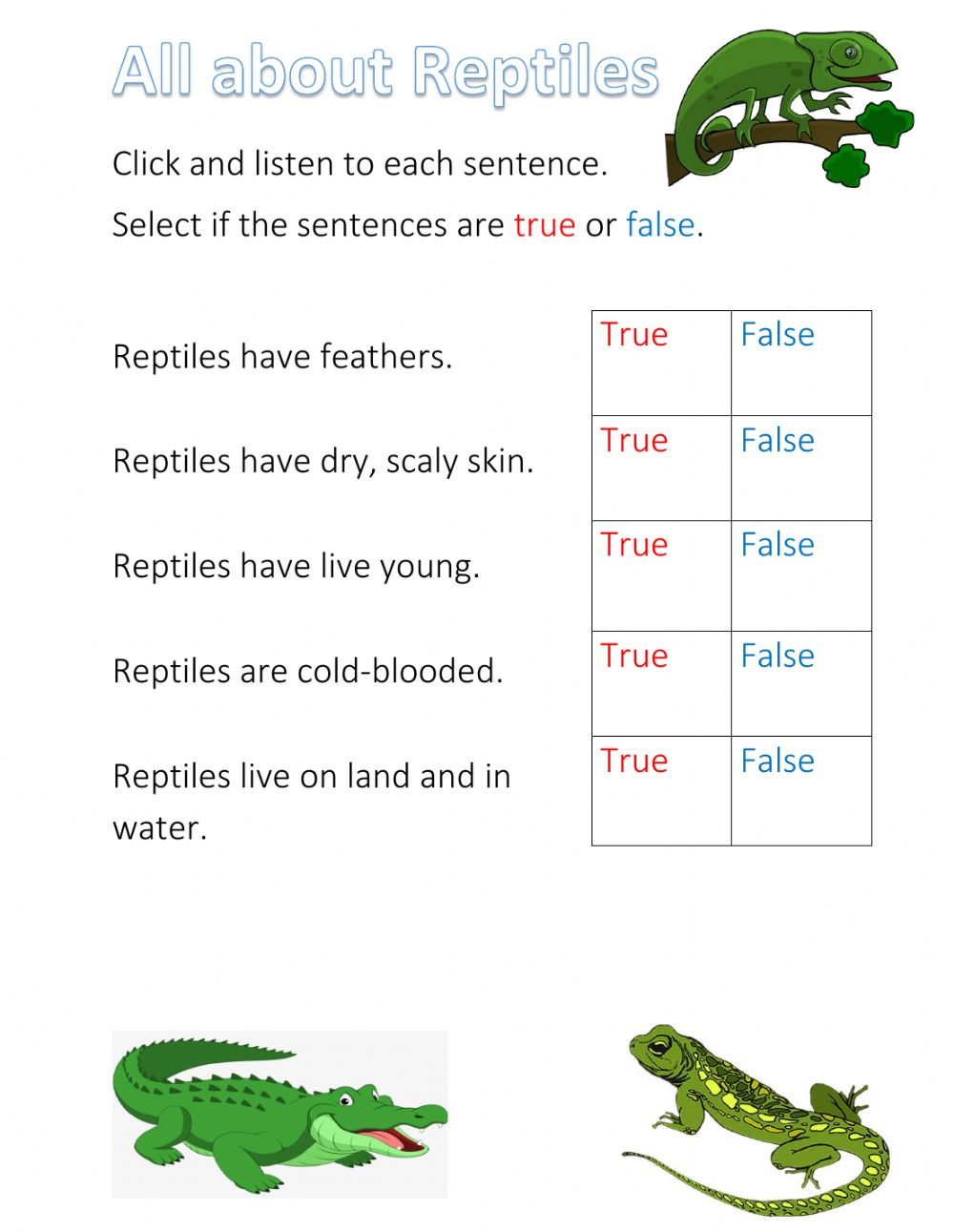hight resolution of Reptiles interactive exercise for 1st-2nd year infants