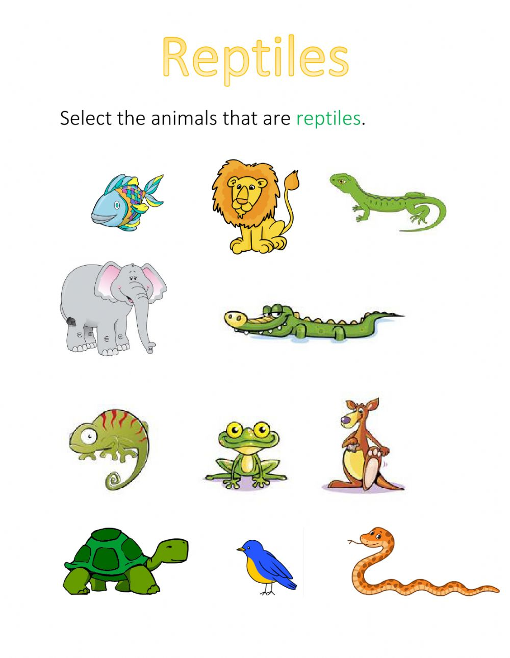 hight resolution of Reptiles online pdf worksheet