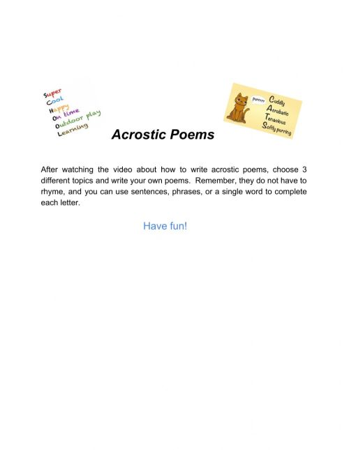 small resolution of Acrostic Poem interactive worksheet