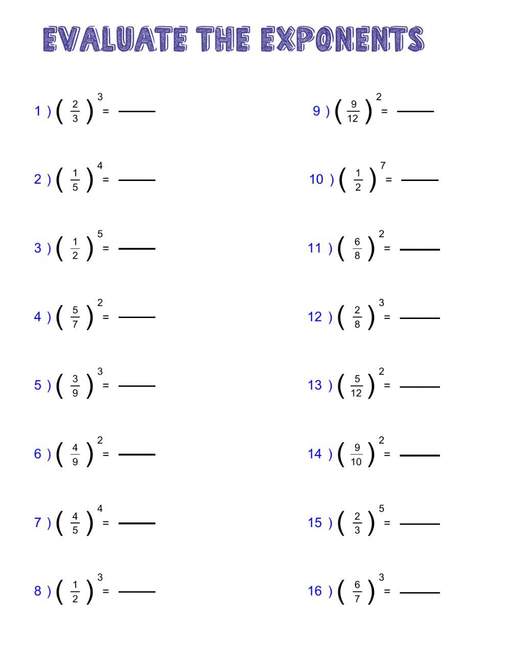 hight resolution of Power of fractions worksheet