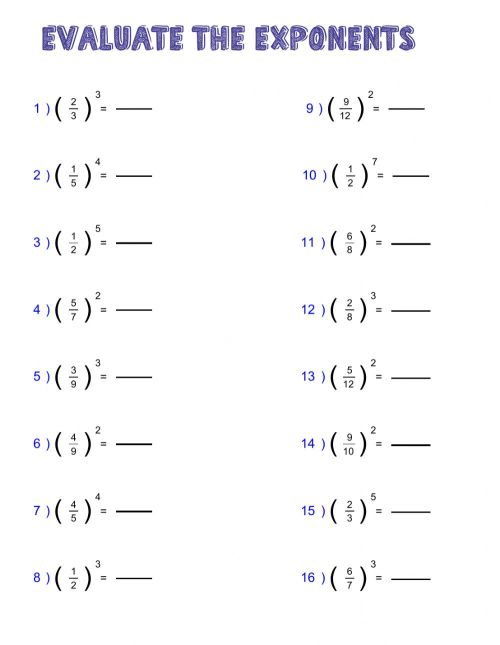 small resolution of Power of fractions worksheet