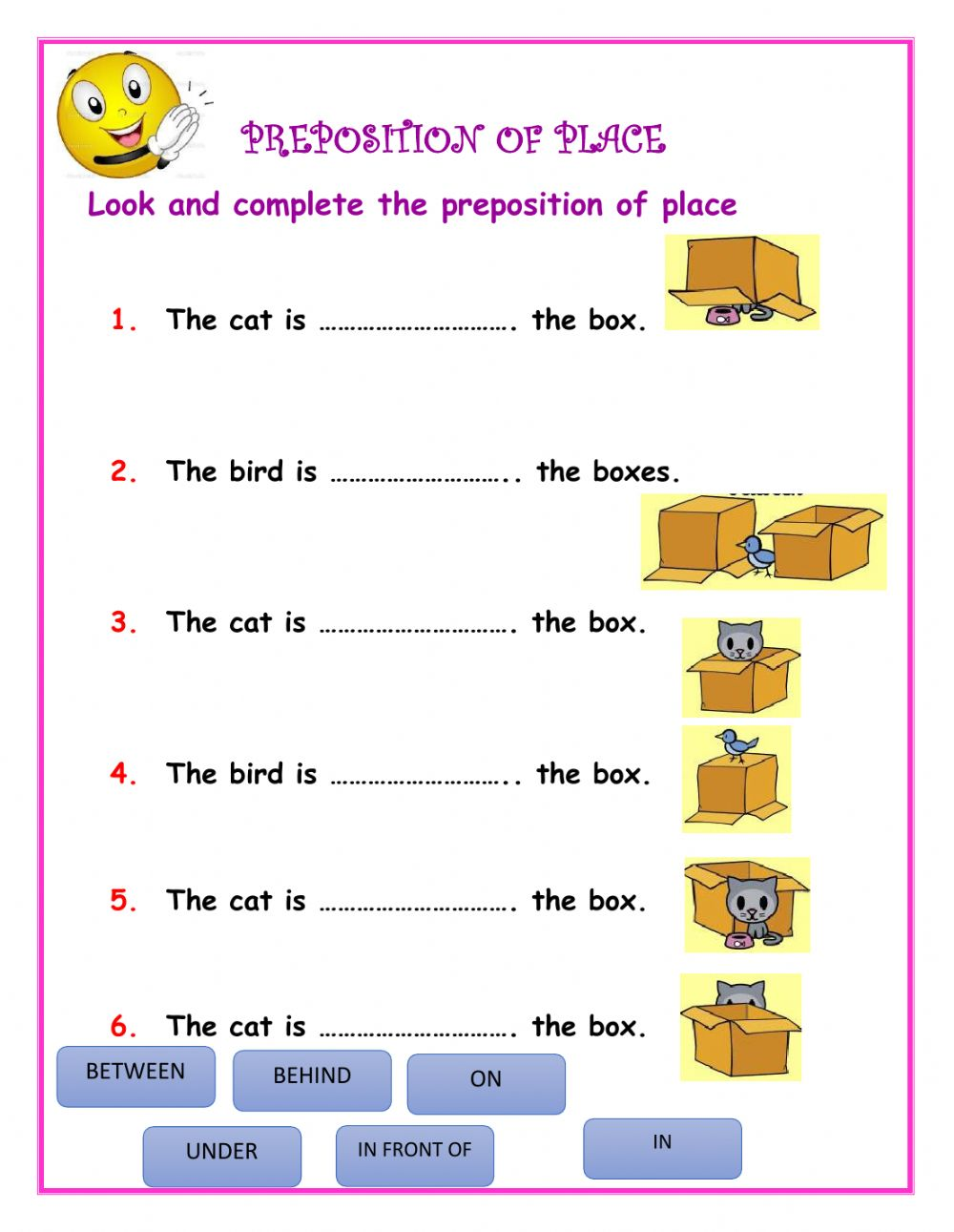 hight resolution of Preposition of place online exercise