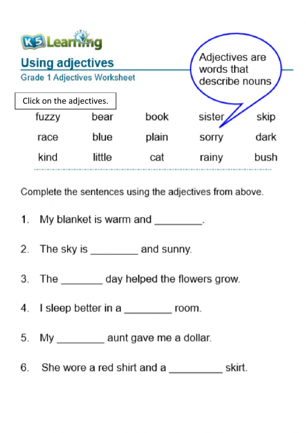 medium resolution of Adjectives online exercise for Grade one