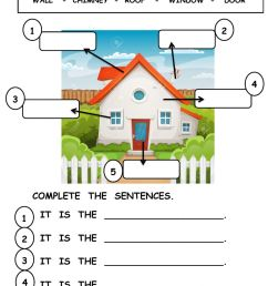 Parts of the house interactive worksheet for grade1 [ 1413 x 1000 Pixel ]