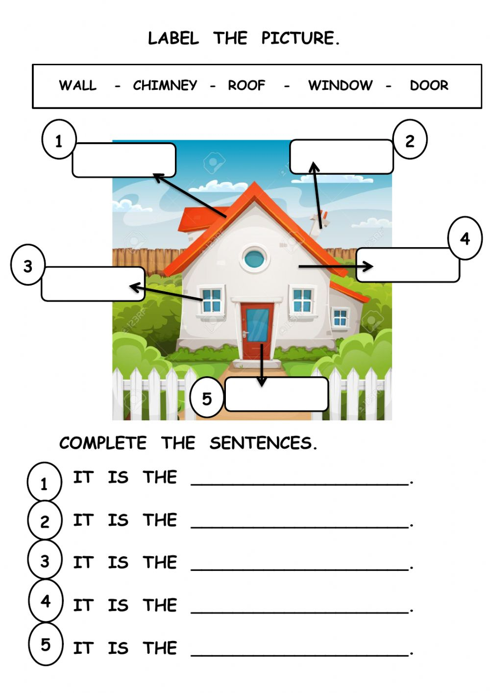 medium resolution of Parts of the house interactive worksheet for grade1