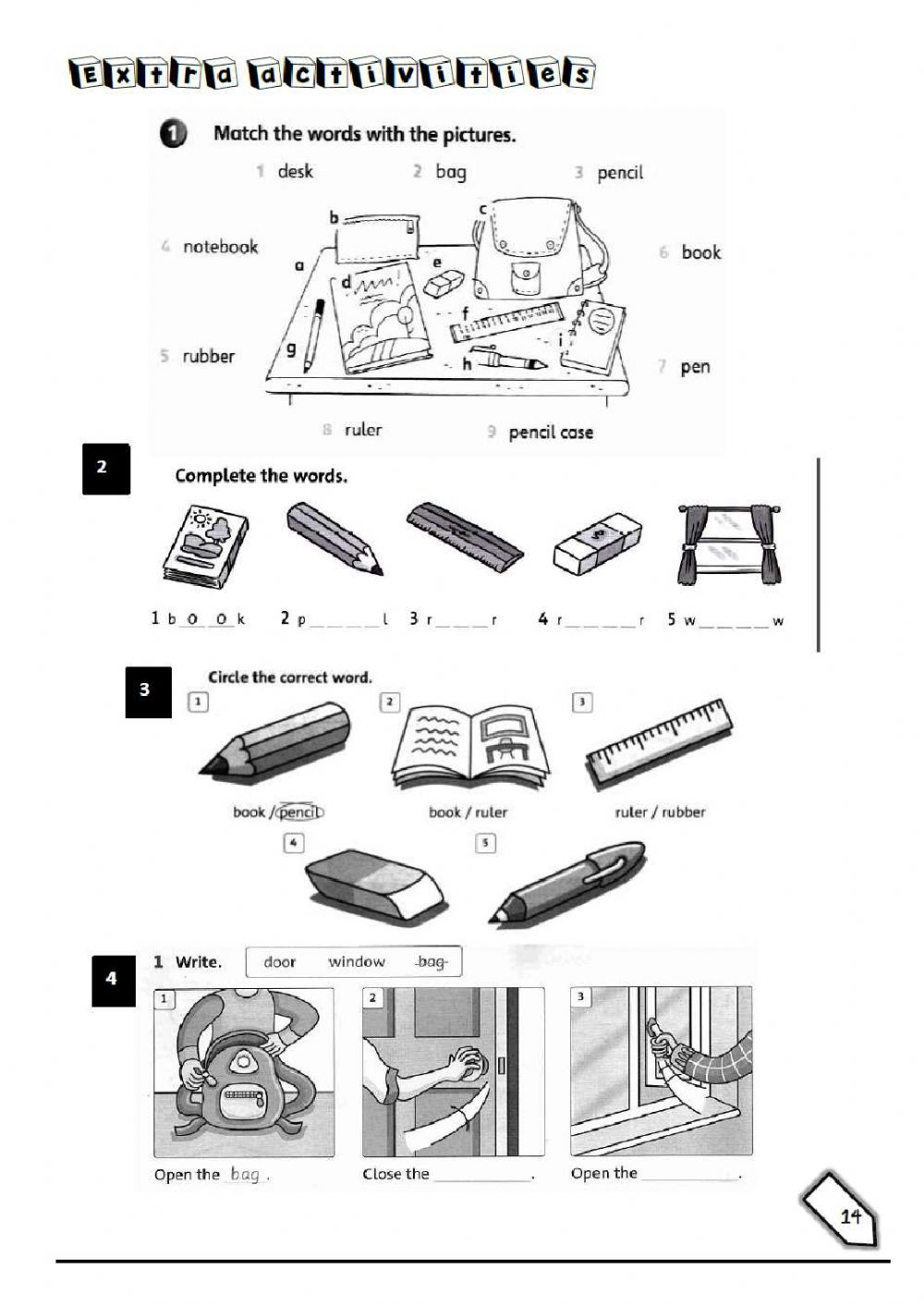 hight resolution of School objects1 interactive worksheet