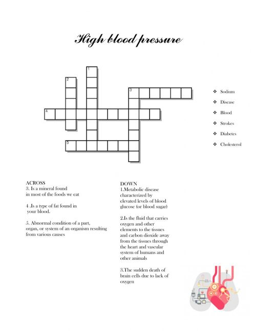 small resolution of High blood pressure worksheet