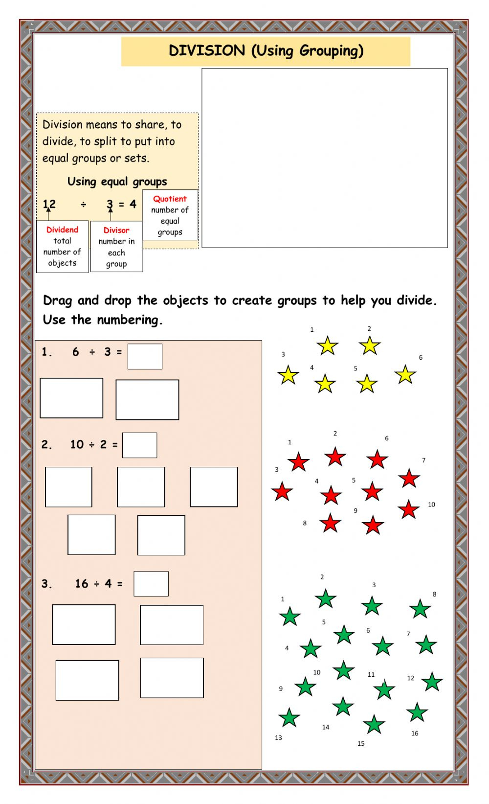 hight resolution of Division online exercise for Grade 3