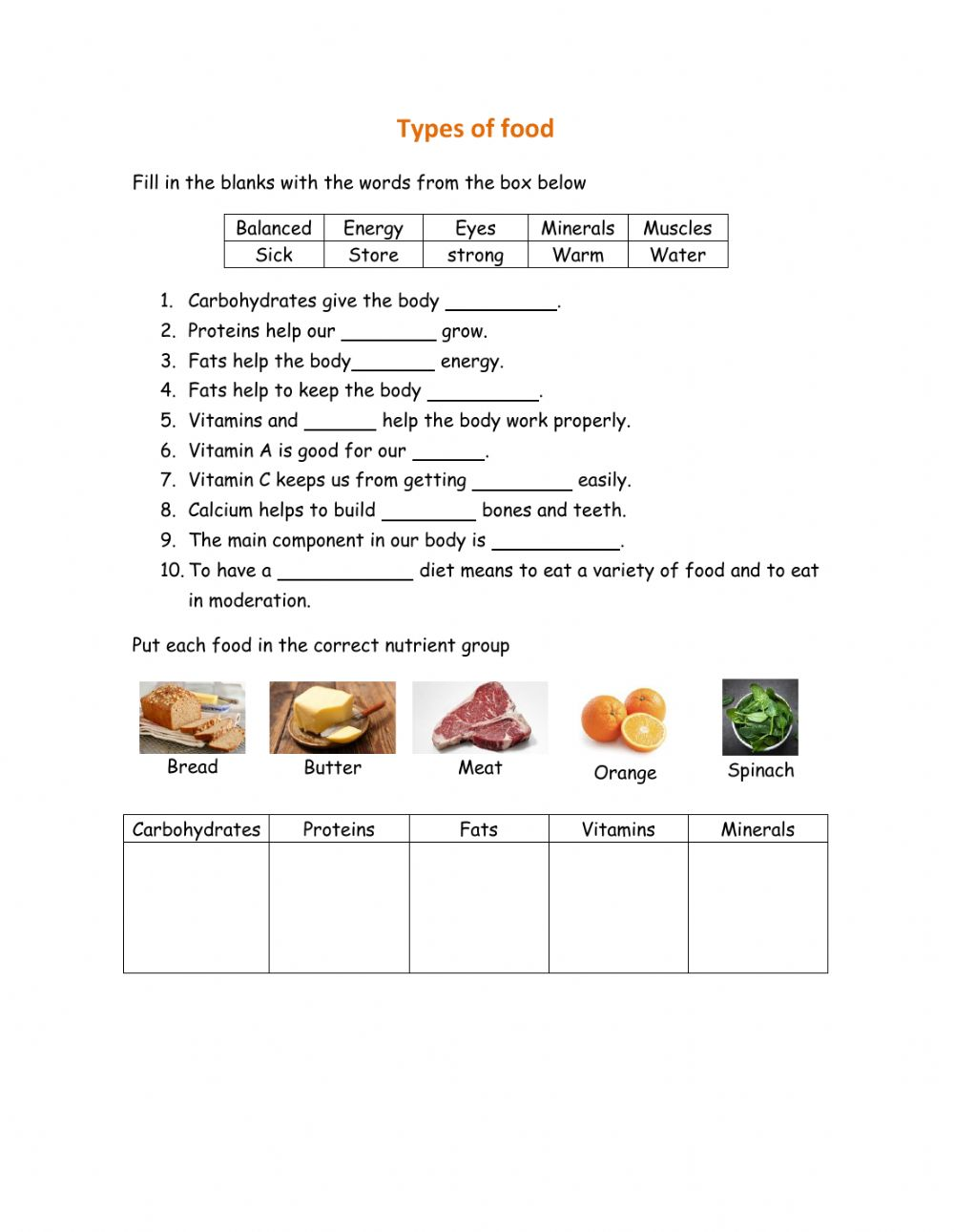 hight resolution of Types of food