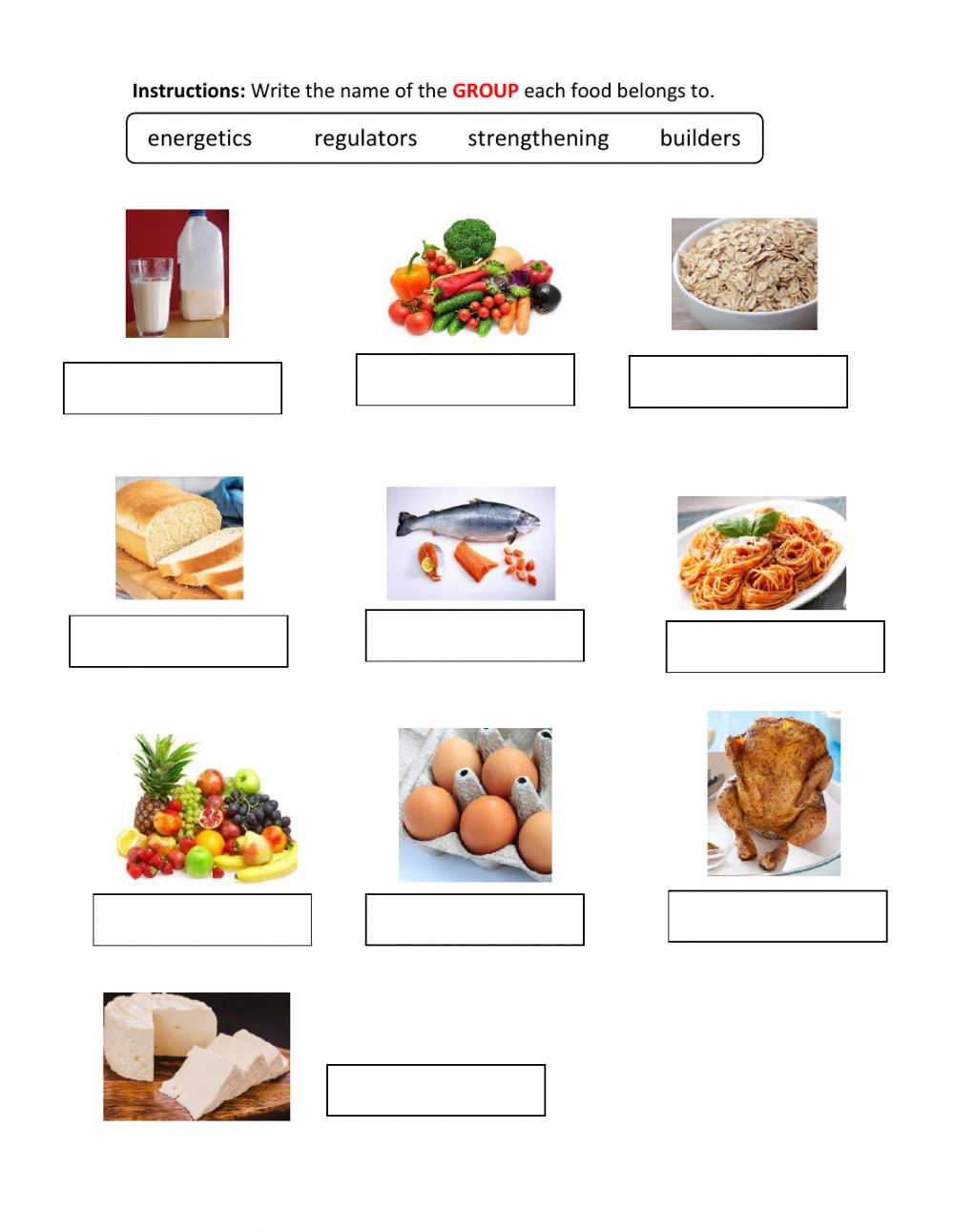 hight resolution of Food groups online activity for Second grade