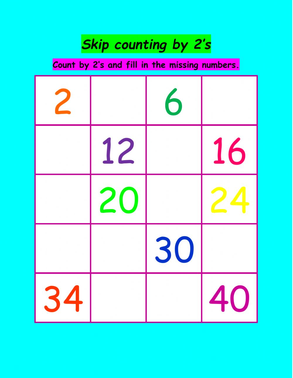 hight resolution of Skip counting activity