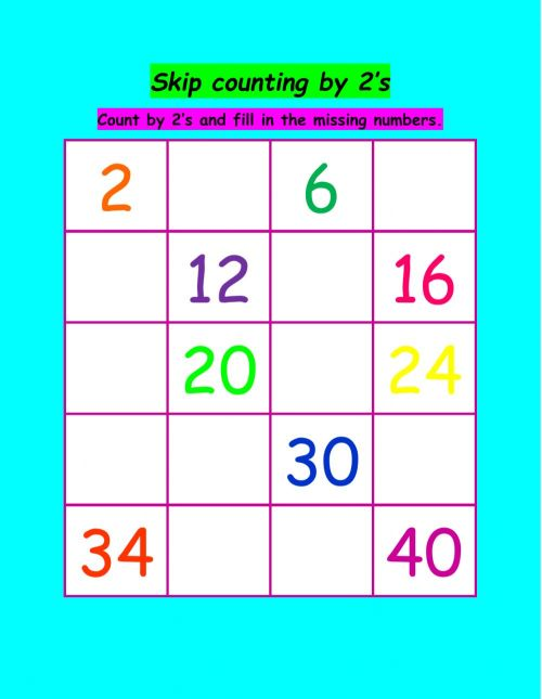 small resolution of Skip counting activity