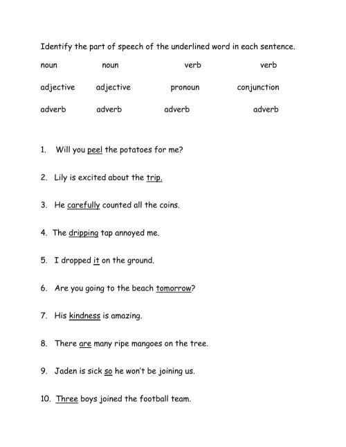 small resolution of Parts of Speech interactive worksheet for Grade 3