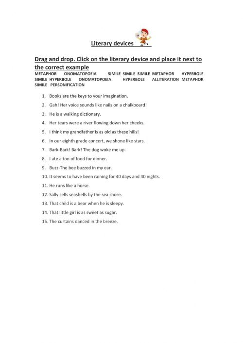 small resolution of Literary devices worksheet