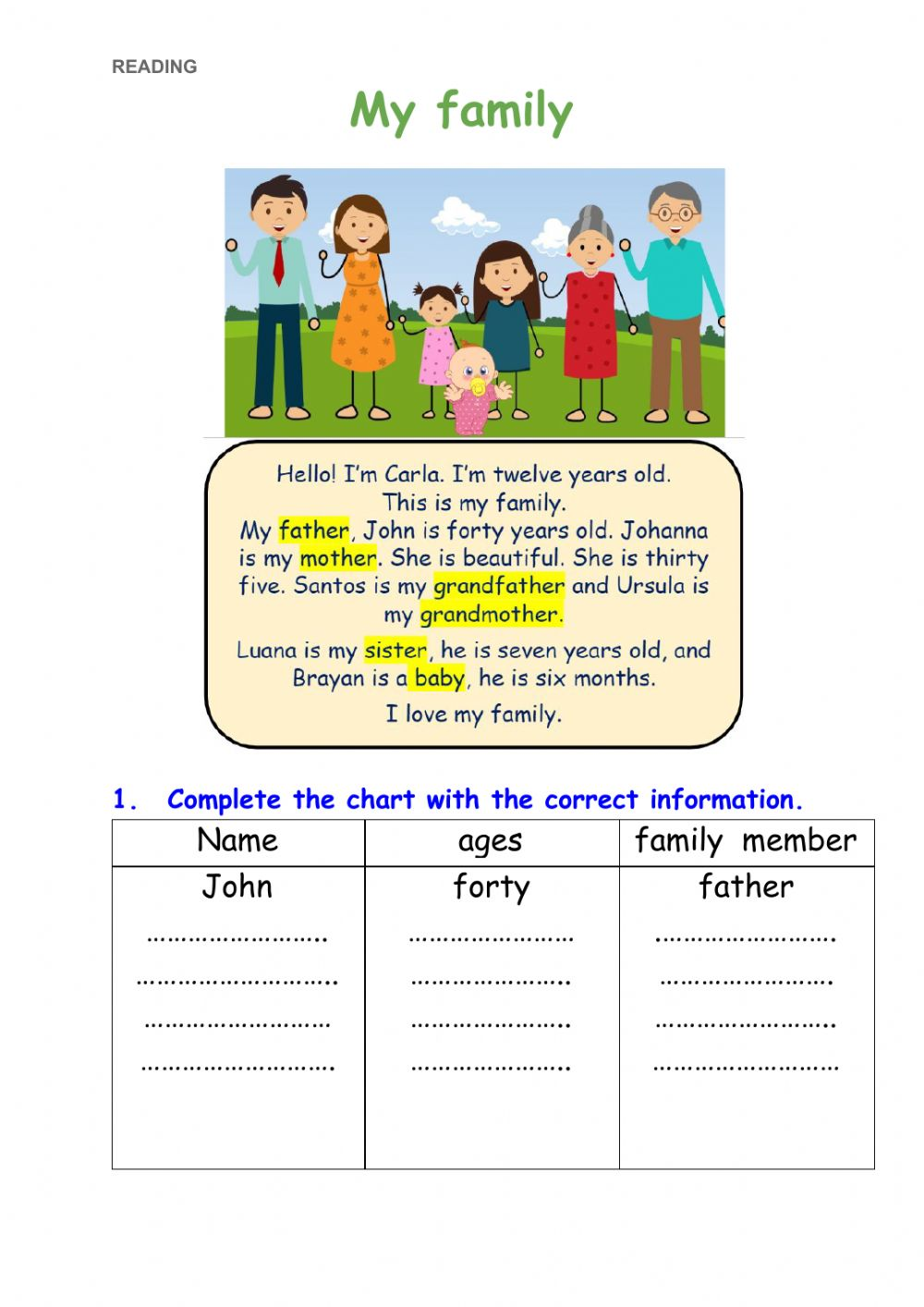 hight resolution of My family online exercise for 3rd grade