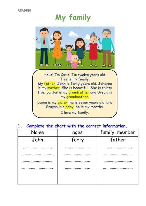 small resolution of My family online exercise for 3rd grade