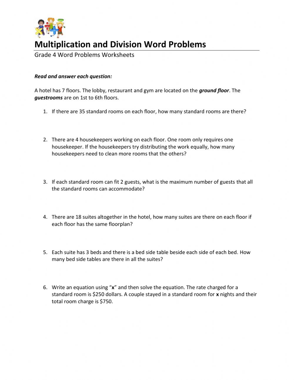hight resolution of Word Problems interactive exercise