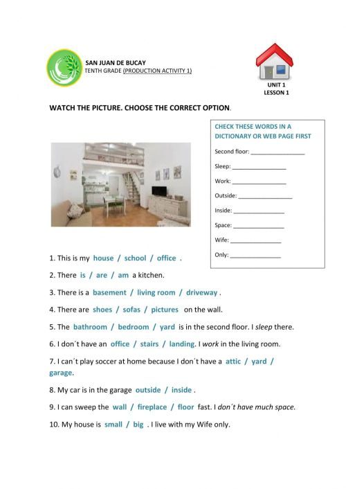 small resolution of Parts of the house exercise for Grade 8-10